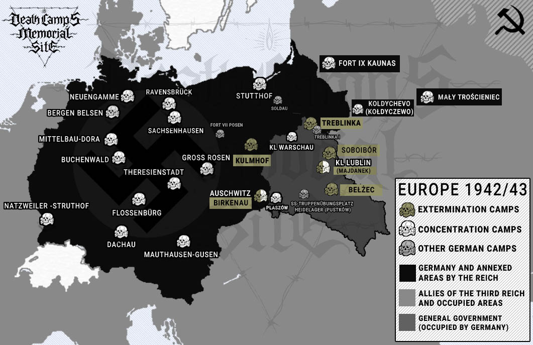 Nazi German concentration and extermination camps map